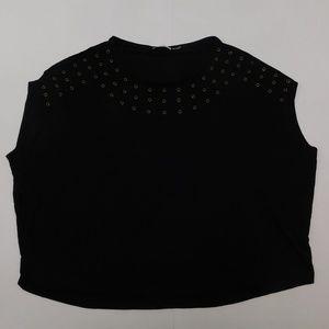 Calvin Klein 2X Black Casual Top Crewneck Rayon Bl